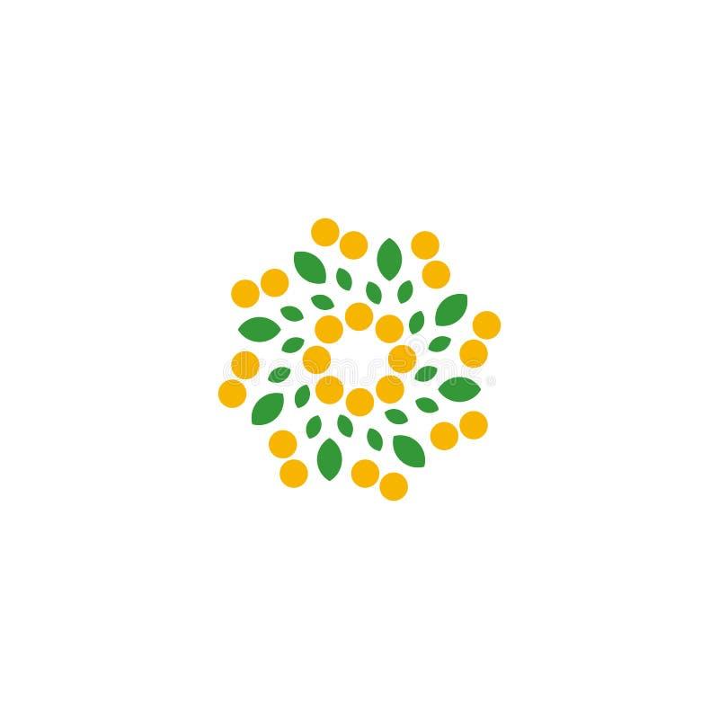 Απομονωμένο αφηρημένο ζωηρόχρωμο λουλούδι στο άσπρο λογότυπο υποβάθρου Διαστιγμένα floral πέταλα logotype Φυσικό σημάδι στοιχείων διανυσματική απεικόνιση