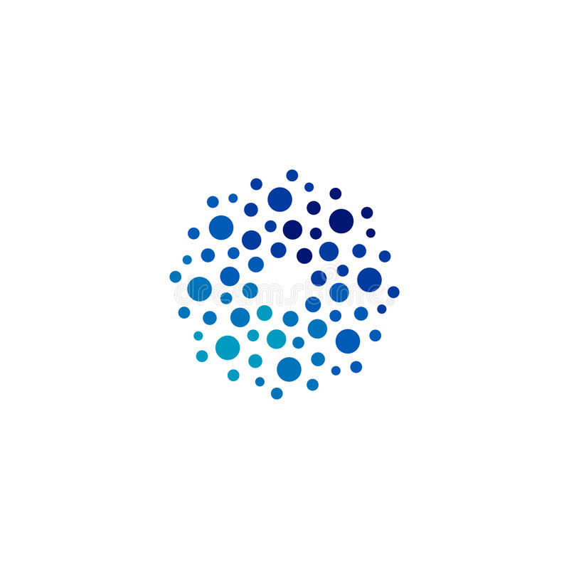 Απομονωμένο αφηρημένο στρογγυλό λογότυπο χρώματος μορφής μπλε, που διαστίζεται logotype, διανυσματική απεικόνιση στοιχείων νερού  ελεύθερη απεικόνιση δικαιώματος