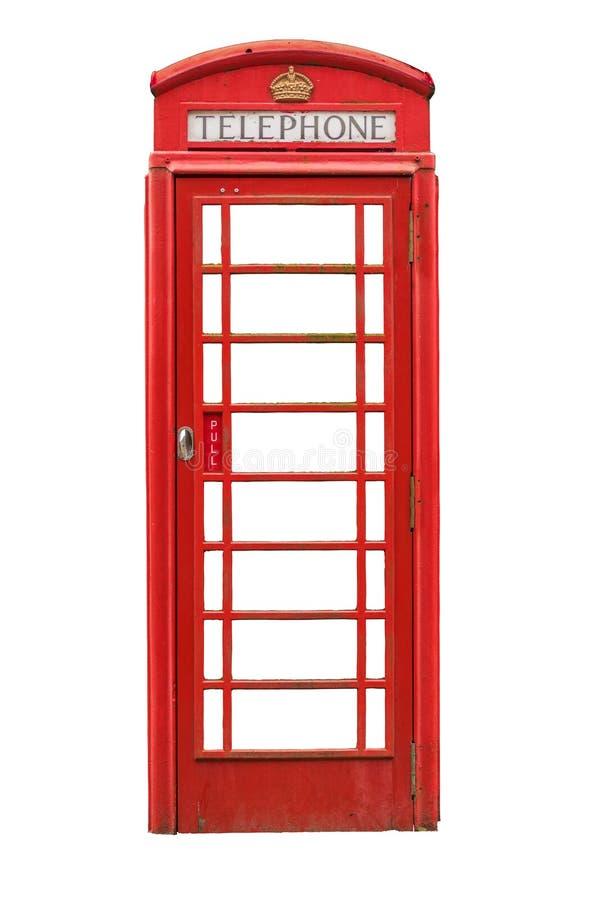 Απομονωμένο βρετανικό τηλεφωνικό κιβώτιο στοκ εικόνες με δικαίωμα ελεύθερης χρήσης