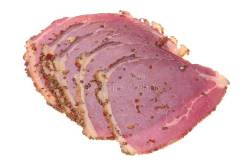 απομονωμένο βόειο κρέας pastra στοκ εικόνα με δικαίωμα ελεύθερης χρήσης