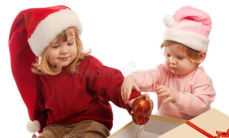 απομονωμένο γλυκό δύο santa κ&om στοκ φωτογραφίες