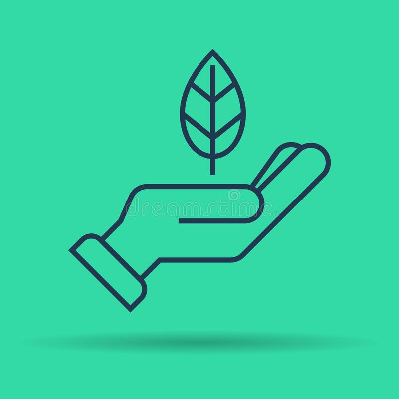 Απομονωμένο γραμμικό εικονίδιο του πράσινου φύλλου σε διαθεσιμότητα ελεύθερη απεικόνιση δικαιώματος