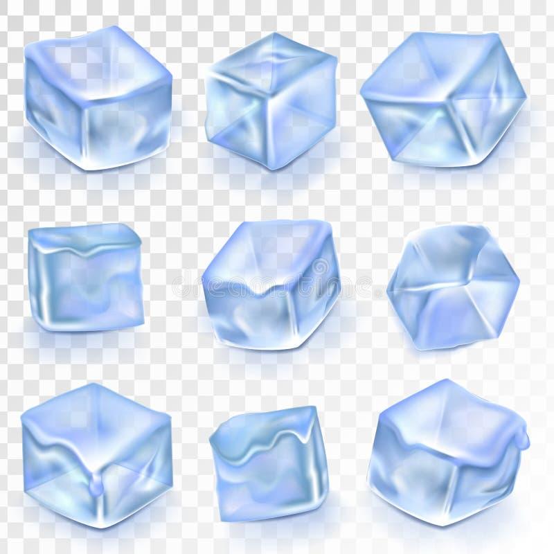 Απομονωμένο διάνυσμα Transpatrent πάγου κύβοι Επίδραση σχεδίου παγώματος παγετού Καθαρό κρύο κρύσταλλο Ρεαλιστικοί μπλε φραγμοί ν διανυσματική απεικόνιση