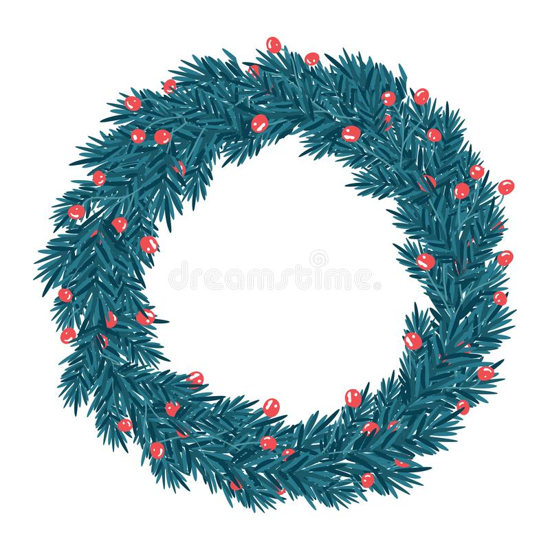 απομονωμένο διανυσματικό απεικόνιση άσπρο στεφάνι Χριστουγέννων ανασκόπησης διανυσματική απεικόνιση