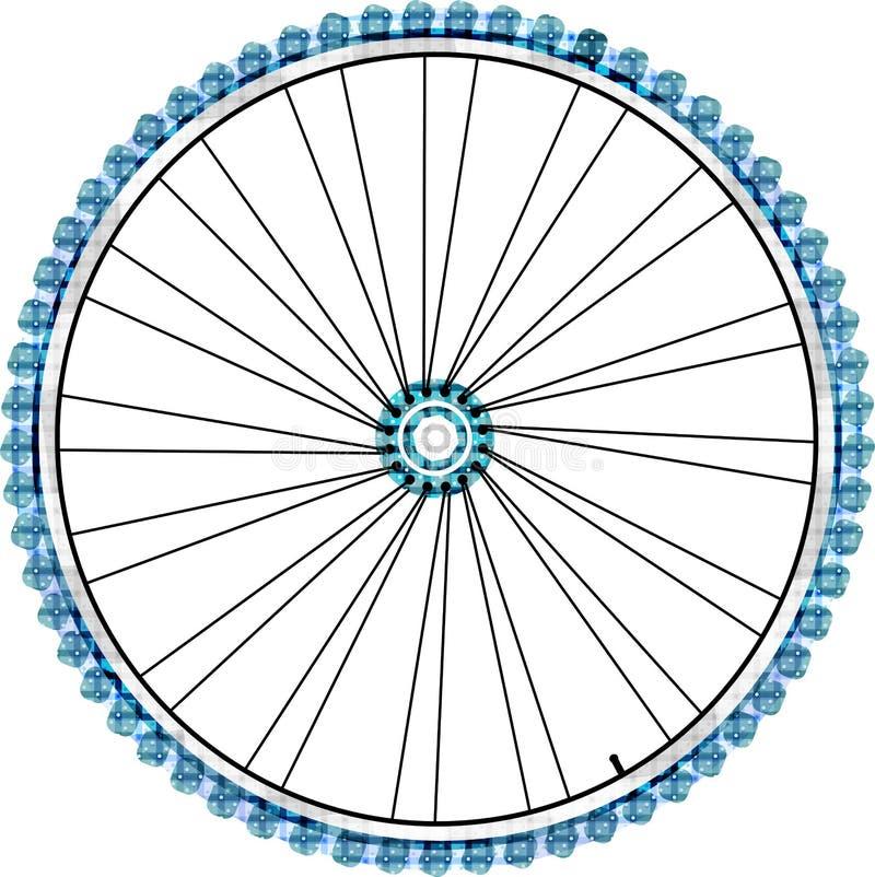 απομονωμένο διανυσματικό λευκό ροδών ανασκόπησης ποδήλατο απεικόνιση αποθεμάτων