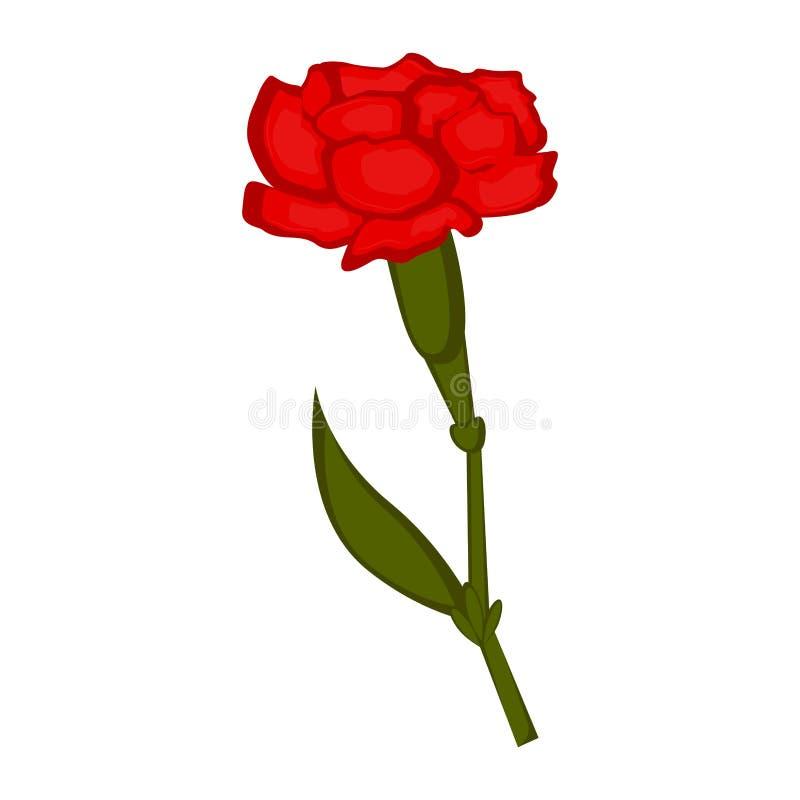 Απομονωμένο εικονίδιο λουλουδιών γαρίφαλων απεικόνιση αποθεμάτων