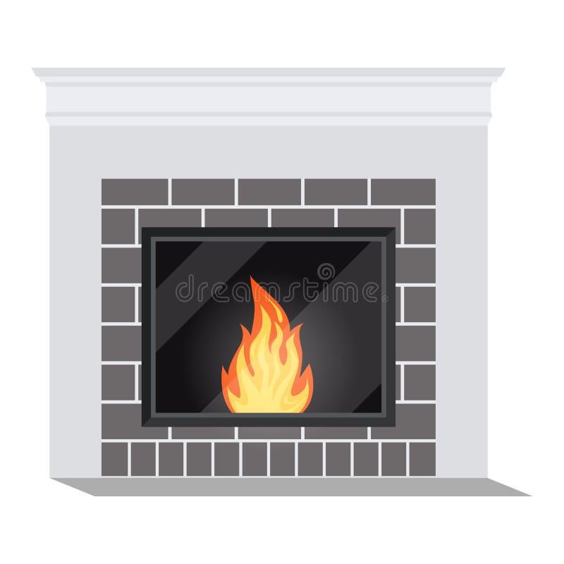Απομονωμένο εικονίδιο της άσπρης άνετης fireburning κινηματογράφησης σε πρώτο πλάνο εστιών ελεύθερη απεικόνιση δικαιώματος