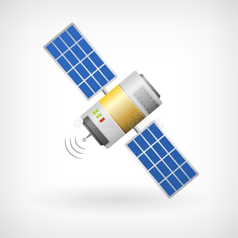 Απομονωμένο εικονίδιο δορυφόρων επικοινωνίας διανυσματική απεικόνιση