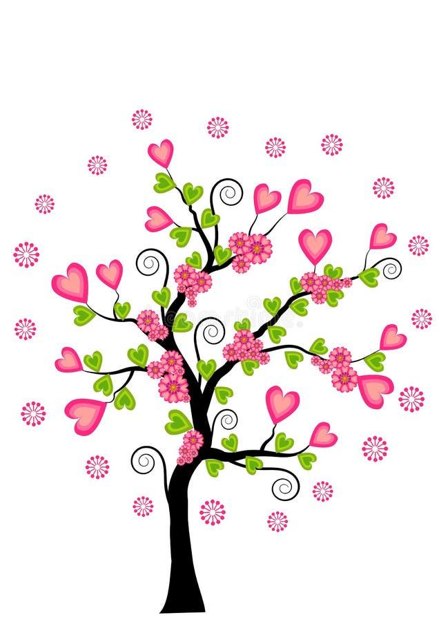 απομονωμένο λευκό δέντρων αγάπης έννοιας καρδιά διανυσματική απεικόνιση