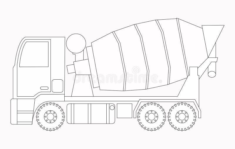 απομονωμένο λευκό αντικειμένου μηχανημάτων κατασκευής ανασκόπησης εκσκαφέας Συγκεκριμένος αναμίκτης Χρωματίζοντας σελίδες για τα  διανυσματική απεικόνιση