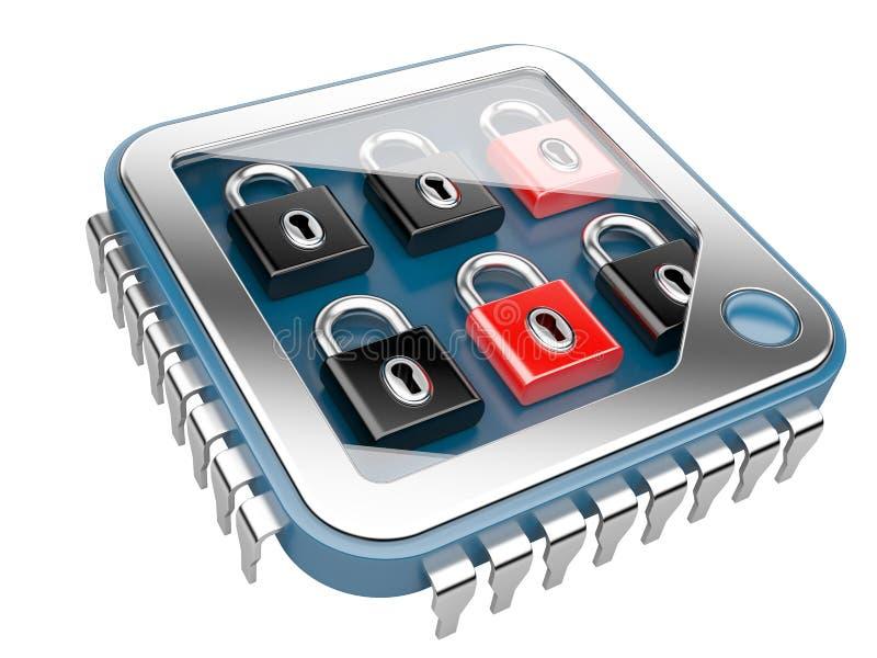 απομονωμένο λευκό ασφάλειας ανασκόπησης έννοια Τσιπ υπολογιστή ΚΜΕ με την κλειδαριά ελεύθερη απεικόνιση δικαιώματος