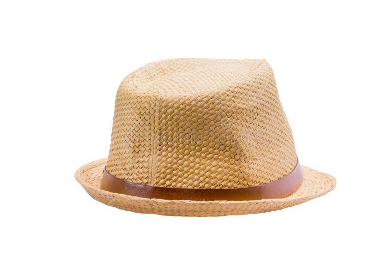 απομονωμένο λευκό αχύρου μονοπατιών ψαλιδίσματος ανασκόπησης καπέλο στοκ εικόνα