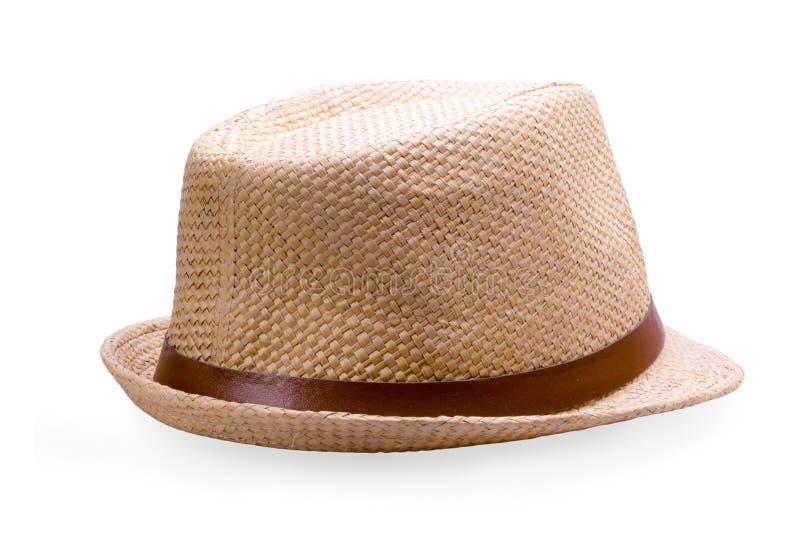 απομονωμένο λευκό αχύρου μονοπατιών ψαλιδίσματος ανασκόπησης καπέλο στοκ φωτογραφία