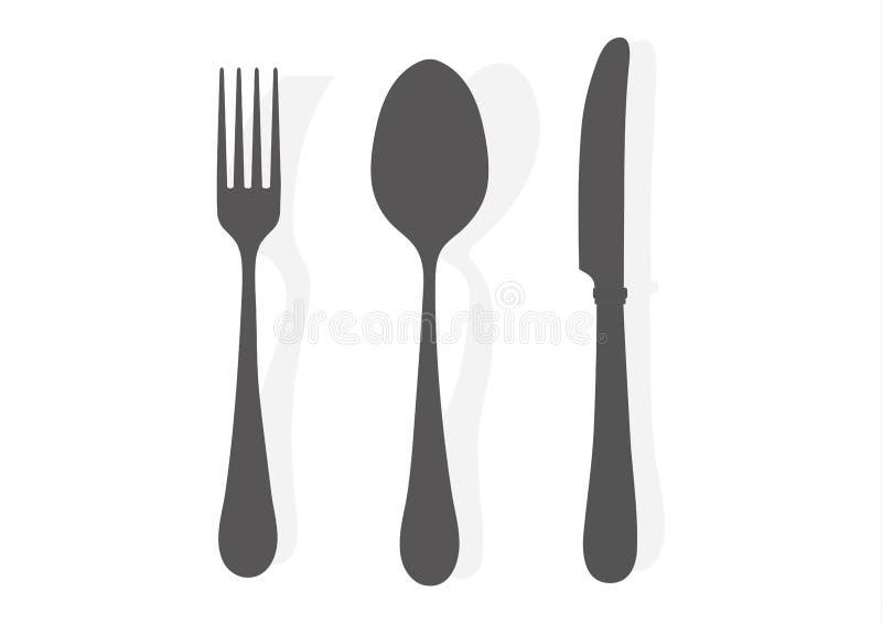απομονωμένο λευκό εργαλείων κουζινών ανασκόπησης απεικόνιση Κουταλιών μαχαιριών δικράνων διανυσματική απεικόνιση εικονιδίων σκιαγ απεικόνιση αποθεμάτων