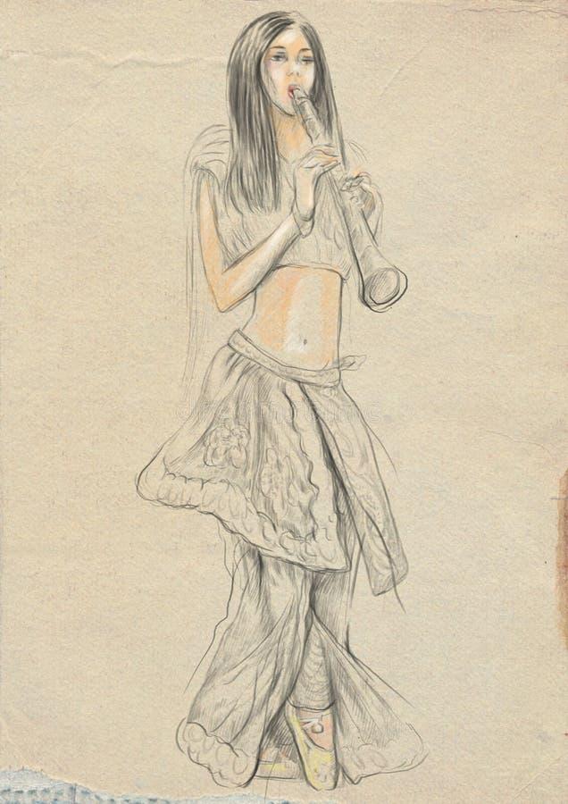 απομονωμένο λευκό φορέων ανασκόπησης κλαρινέτο Ένα συρμένο χέρι σύνολο - μεγέθους απεικόνιση, αρχική διανυσματική απεικόνιση