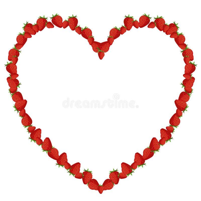 απομονωμένο λευκό φραουλών ανασκόπησης καρδιά ελεύθερη απεικόνιση δικαιώματος