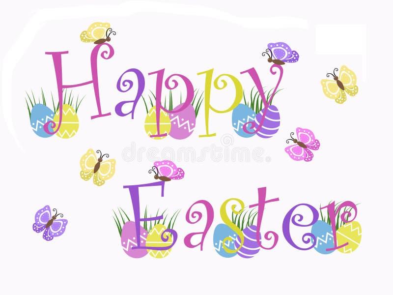 Απομονωμένο ευτυχές κείμενο Πάσχας με τα αυγά, χλόη, πεταλούδες με το άσπρο υπόβαθρο διανυσματική απεικόνιση