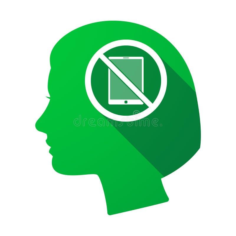 Απομονωμένο θηλυκό κεφάλι με ένα PC ταμπλετών σε ένα μην σήμα ελεύθερη απεικόνιση δικαιώματος