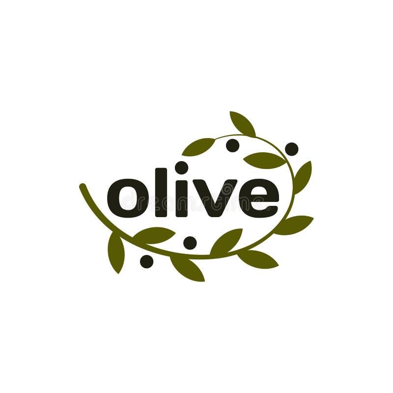 Απομονωμένο διανυσματικό λογότυπο κλαδί ελιάς Πετρέλαιο logotype Φυσικό υγιές εικονίδιο προϊόντων απεικόνιση αποθεμάτων