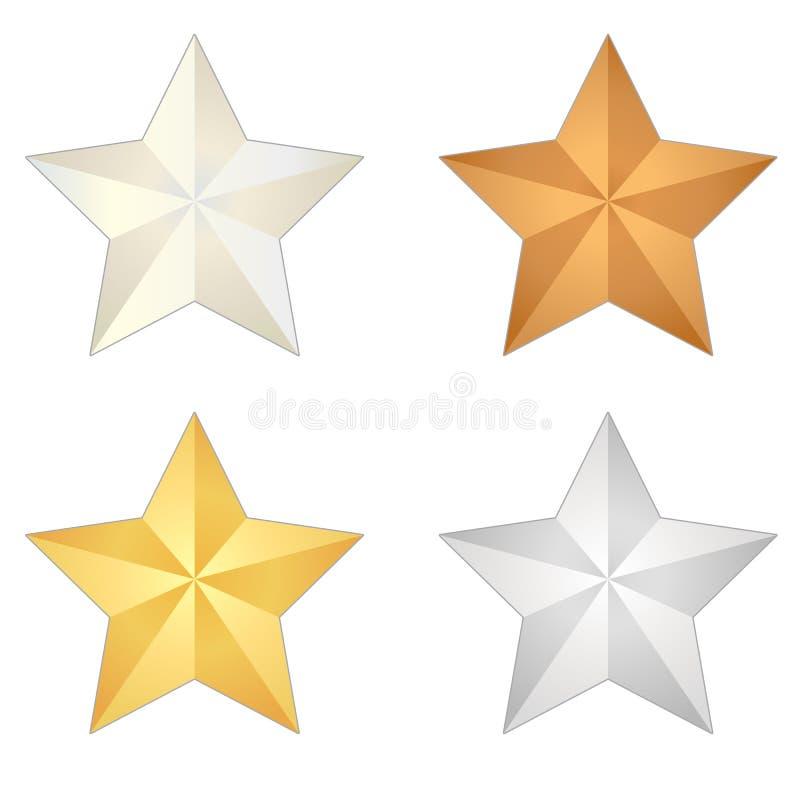 Απομονωμένο διανυσματικό σύνολο αστεριών μετάλλων απεικόνιση αποθεμάτων