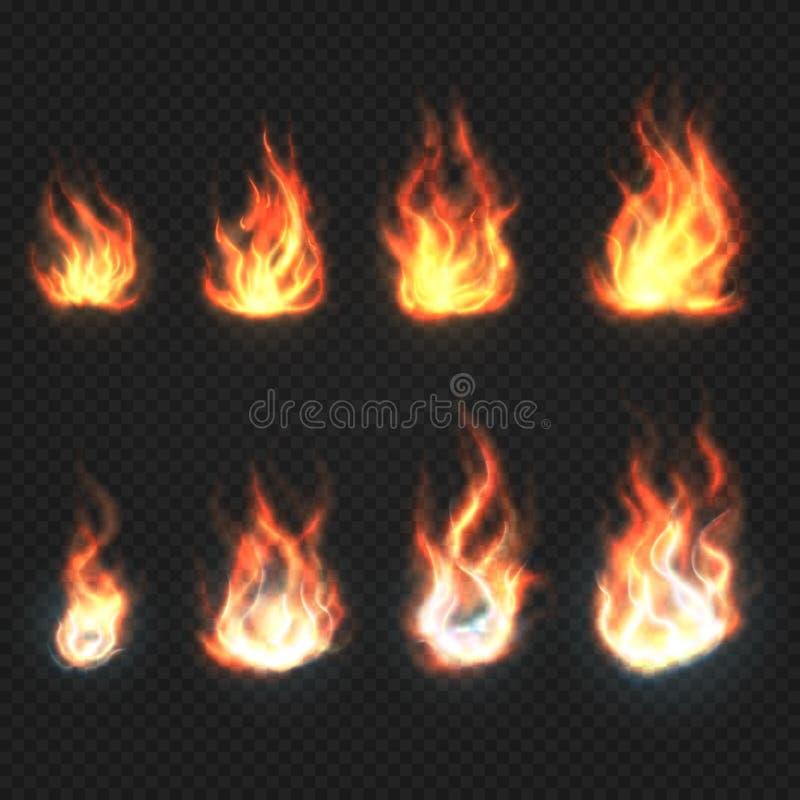 Απομονωμένο διανυσματικό σύνολο φλογών πυρκαγιάς, συμβόλων δύναμης και ενέργειας διανυσματική απεικόνιση