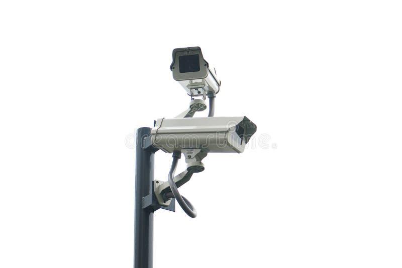 Απομονωμένο διπλό CCTV στον πόλο με το άσπρο υπόβαθρο στοκ εικόνα με δικαίωμα ελεύθερης χρήσης