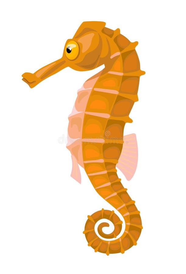 Απομονωμένο κινούμενα σχέδια πορτοκαλί κωμικό seahorse απεικόνιση αποθεμάτων