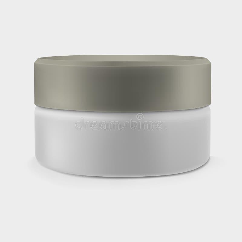 Απομονωμένο κλειστό βάζο κρέμας Καλλυντικά πολυτέλειας απεικόνιση αποθεμάτων