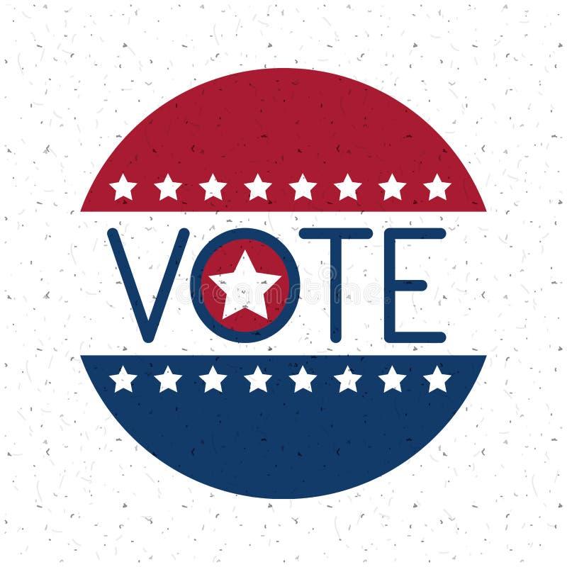 Απομονωμένο κουμπί αμερικανικών σημαιών της έννοιας ψηφοφορίας απεικόνιση αποθεμάτων