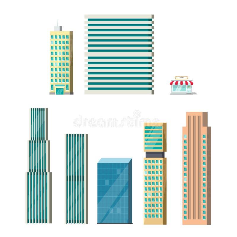 Απομονωμένο κτήρια διάνυσμα, πρόσοψη οικοδόμησης ουρανοξυστών απεικόνιση αποθεμάτων