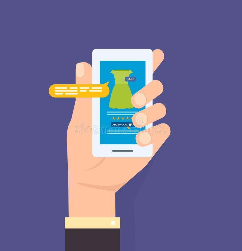 απομονωμένο λαβή τηλέφωνο χεριών κλήσης Σε απευθείας σύνδεση κατάστημα στο smartphone εφαρμογές κινητές διανυσματική απεικόνιση