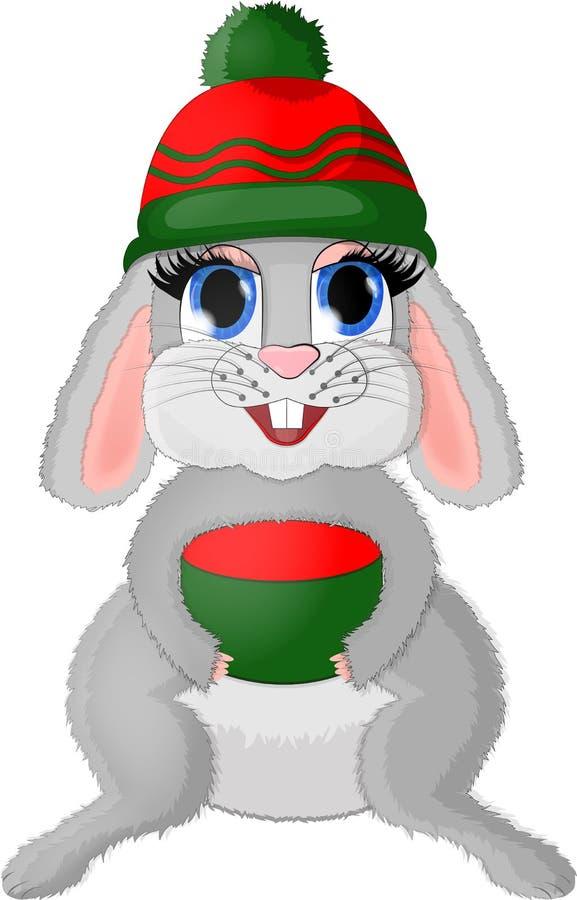 Απομονωμένο λαγουδάκι Χριστουγέννων με το giftbox απεικόνιση αποθεμάτων