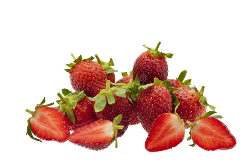 απομονωμένο λευκό φραουλών στοκ εικόνες