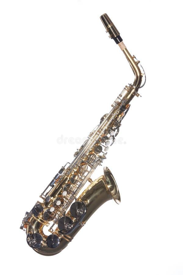 απομονωμένο λευκό saxophone στοκ εικόνες με δικαίωμα ελεύθερης χρήσης
