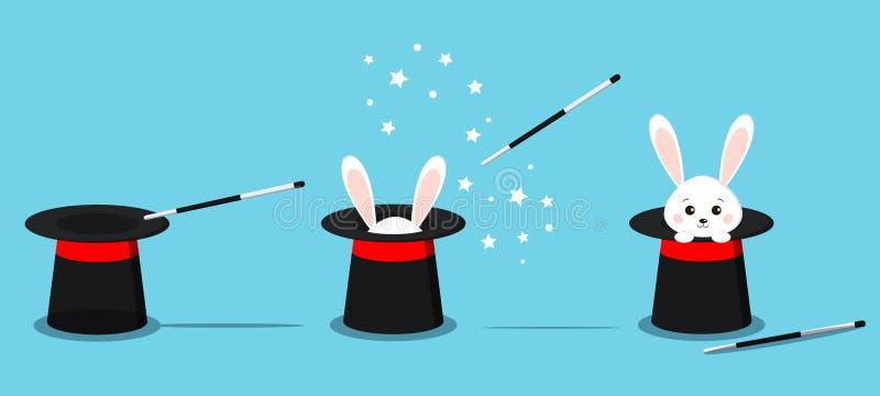 Απομονωμένο μαύρο καπέλο του μάγου, μαγικό καπέλο με τα αυτιά λαγουδάκι, άσπρο κουνέλι στο καπέλο με τη μαγική ράβδο διανυσματική απεικόνιση
