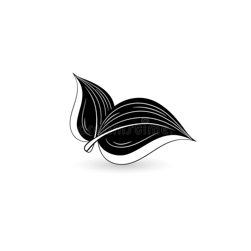 Απομονωμένο μαύρο φύλλο στοκ εικόνα