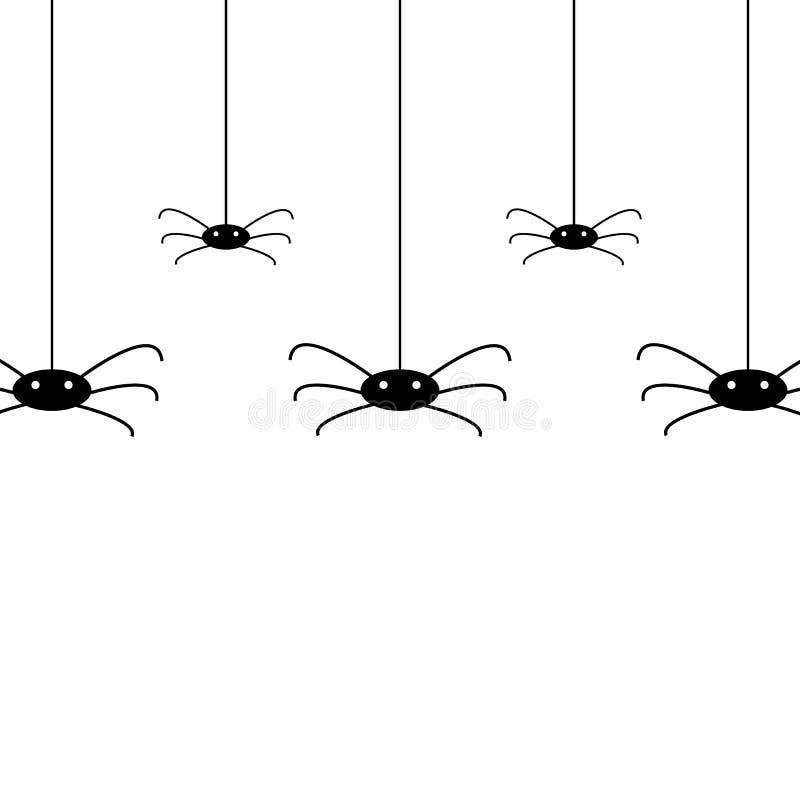 Απομονωμένο μοτίβο διανύσματος με κρεμαστές αράχνες για διακόσμηση κα απεικόνιση αποθεμάτων