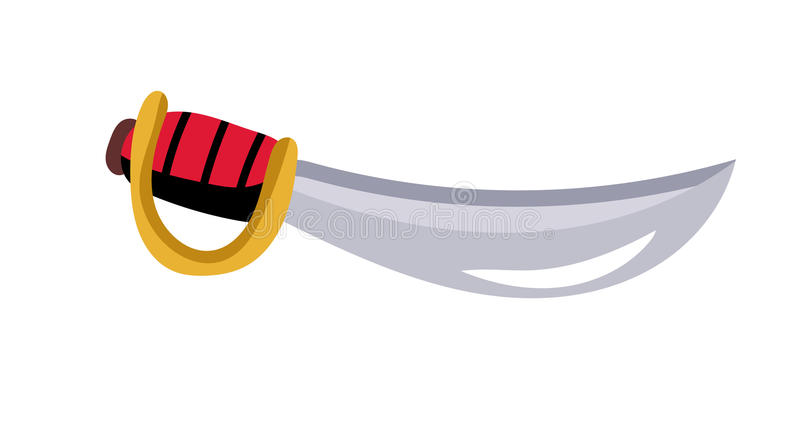 Απομονωμένο ξίφος διανυσματικό εικονίδιο πειρατών διανυσματική απεικόνιση