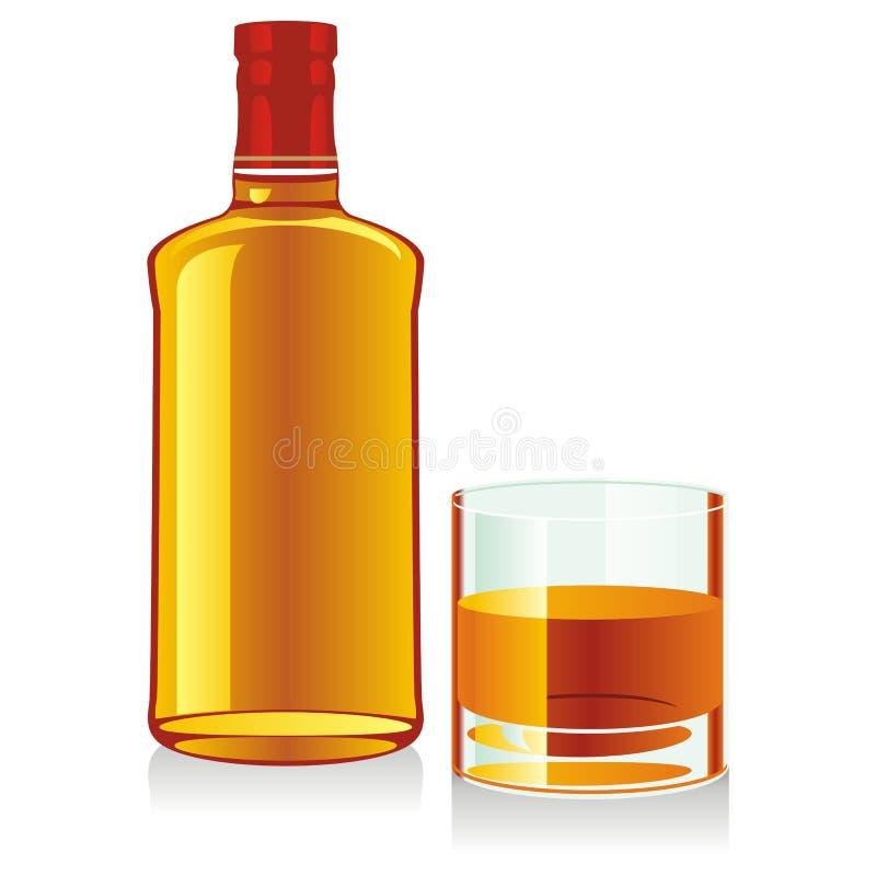απομονωμένο ουίσκυ γυαλιού μπουκαλιών διανυσματική απεικόνιση