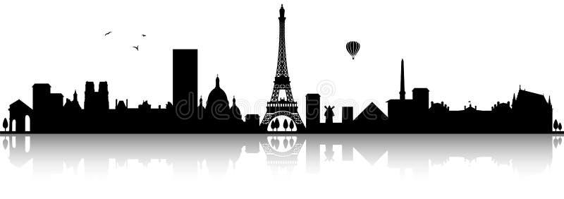 Απομονωμένο ο Μαύρος διάνυσμα σκιαγραφιών οριζόντων του Παρισιού Γαλλία διανυσματική απεικόνιση