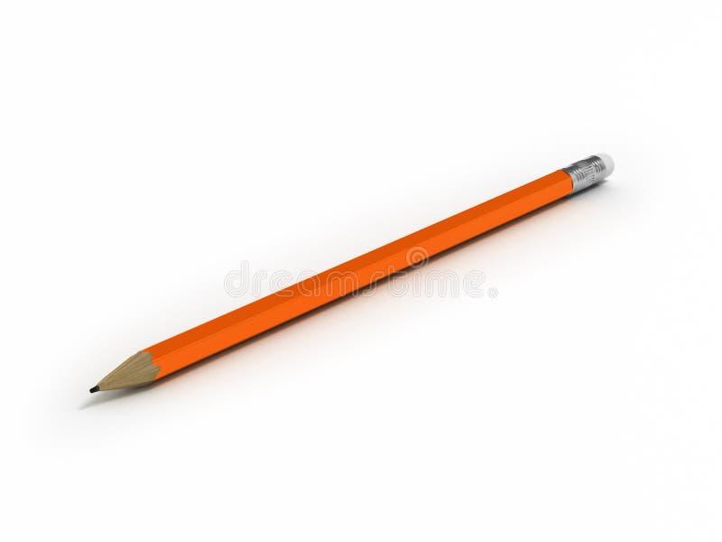 Απομονωμένο πορτοκαλί μολύβι στην άσπρη τρισδιάστατη απεικόνιση υποβάθρου απεικόνιση αποθεμάτων