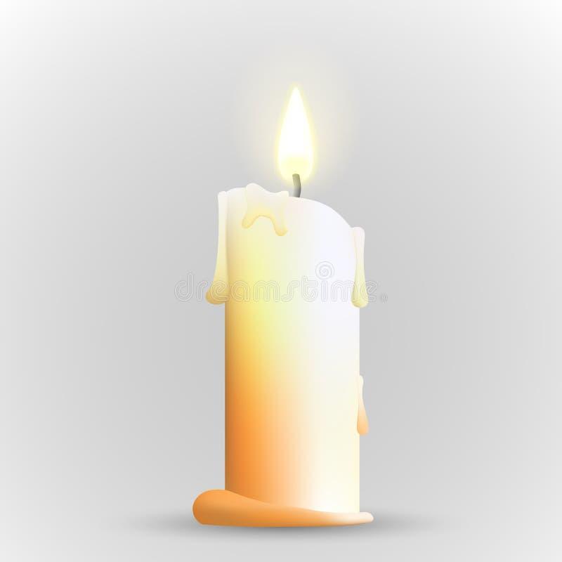 Απομονωμένο ρεαλιστικό κερί ελεύθερη απεικόνιση δικαιώματος