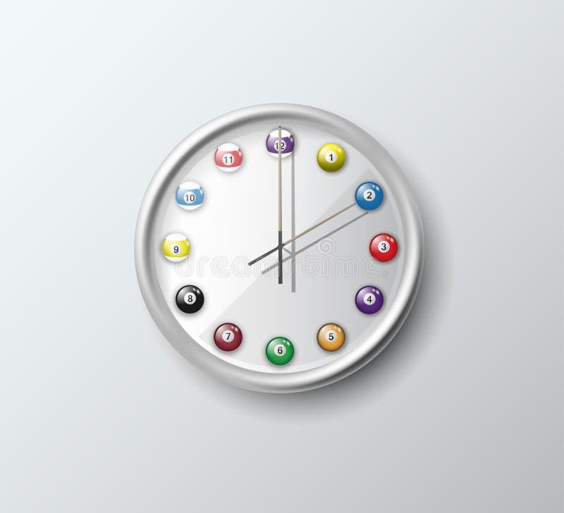 Απομονωμένο ρολόι μπιλιάρδο τοίχων διανυσματική απεικόνιση