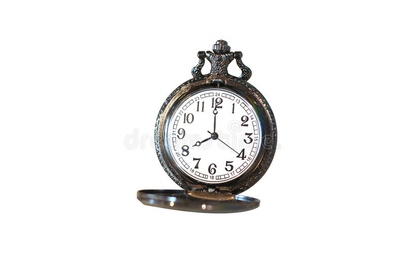 Απομονωμένο ρολόι τσεπών πολυτέλειας εκλεκτής ποιότητας μαύρο στο άσπρο υπόβαθρο, περίληψη για τη χρονική έννοια στοκ εικόνες με δικαίωμα ελεύθερης χρήσης