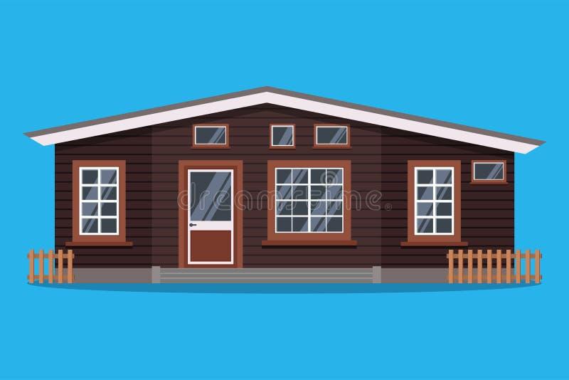 Απομονωμένο Σκανδιναβικό αγροτικό ξύλινο εξοχικό σπίτι με τους φράκτες στο επίπεδο ύφος κινούμενων σχεδίων διανυσματική απεικόνιση