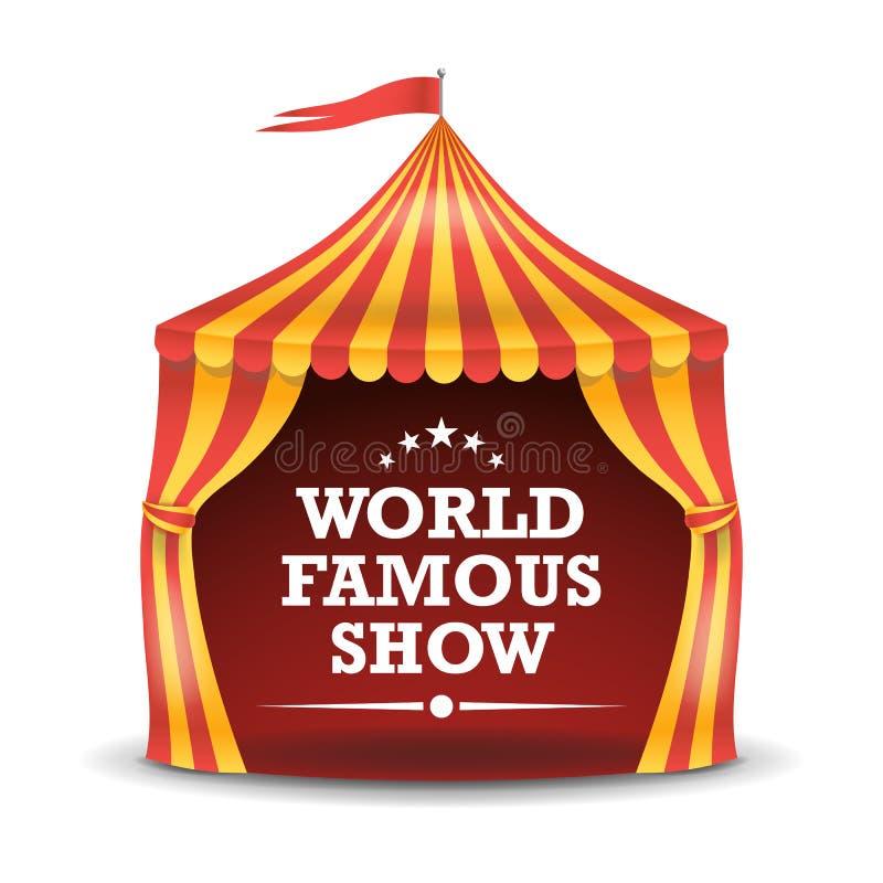 Απομονωμένο σκηνή διάνυσμα τσίρκων Κόκκινα και κίτρινα λωρίδες μεγάλη κορυφή σκηνών τσίρκ&ome Απεικόνιση έννοιας διακοπών καρναβα απεικόνιση αποθεμάτων