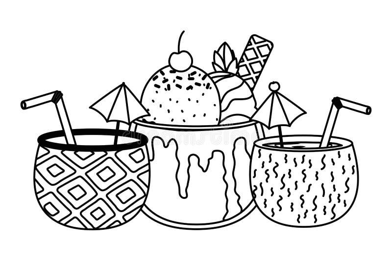 Απομονωμένο σχέδιο κοκτέιλ ανανά και καρύδων απεικόνιση αποθεμάτων