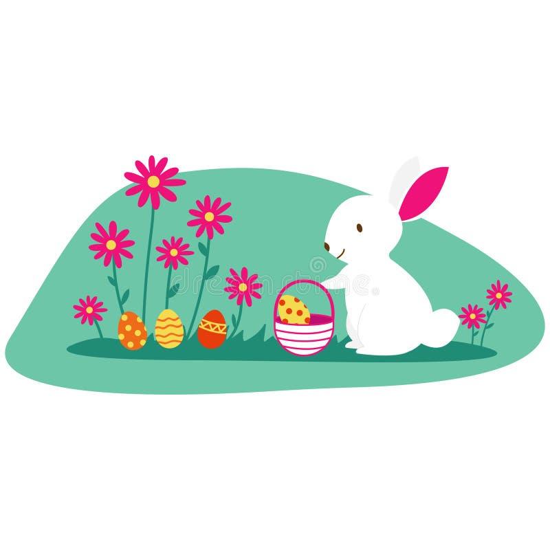 Απομονωμένο σχέδιο Πάσχας με ένα κουνέλι λαγουδάκι και διακοσμημένα αυγά Πάσχας σε ένα καλάθι Χρωματισμένα αυγά Πάσχας που κρύβον ελεύθερη απεικόνιση δικαιώματος