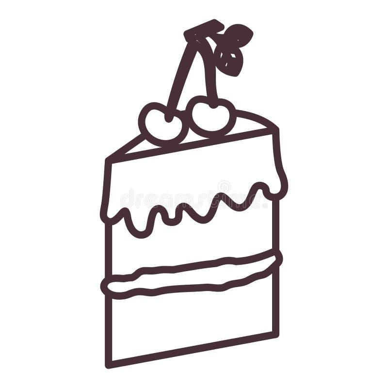 Απομονωμένο σχέδιο σκιαγραφιών κέικ ελεύθερη απεικόνιση δικαιώματος