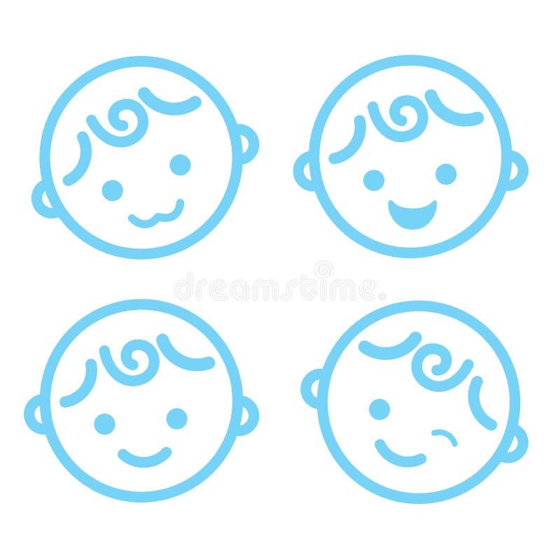 Απομονωμένο σύμβολο υπόβαθρο εικονιδίων προσώπου αγοράκι ελεύθερη απεικόνιση δικαιώματος